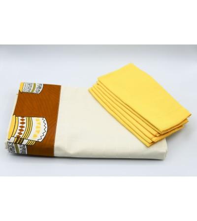 Nappe de table colorée  - L. 260x l. 140cm + 6 serviettes