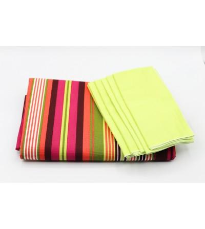 Nappe de table multivitaminée - L. 260x l. 140cm + 6 serviettes